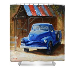 A Blue Chevrolet Shower Curtain