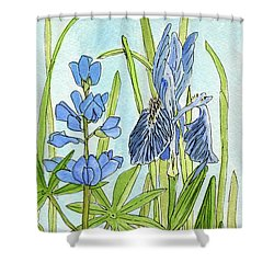 A Blue Garden Shower Curtain