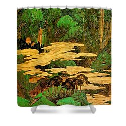 A Blue Green Landscape Shower Curtain by Pg Reproductions