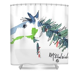 A Blue Roan Horse Watercolor Painting By Kmcelwaine Shower Curtain