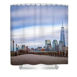 Shower Curtain featuring the photograph A Boardwalk In The City by Eduard Moldoveanu