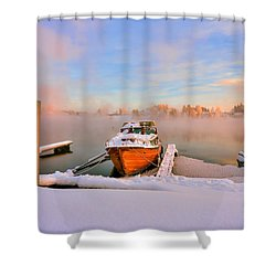 Boat On Frozen Lake Shower Curtain