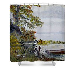 Shower Curtain featuring the painting A Boat Waiting by Marilyn  McNish