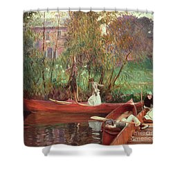 A Boating Party  Shower Curtain by John Singer Sargent