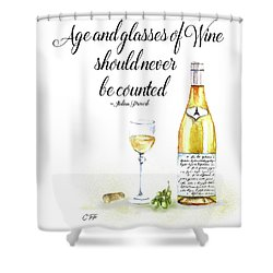 A Bottle Of White Wine Shower Curtain by Colleen Taylor