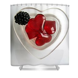 Shower Curtain featuring the photograph A Bowl Of Hearts And A Blackberry by Ausra Huntington nee Paulauskaite