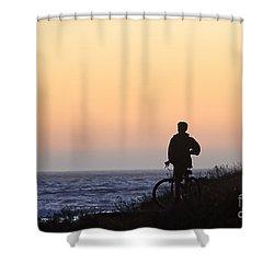 A Boy His Bike And The Beach Shower Curtain