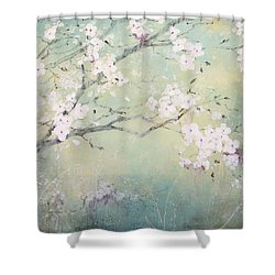 Shower Curtain featuring the painting A Breath Of Spring by Laura Lee Zanghetti