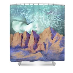 Shower Curtain featuring the painting A Breath Of Tranquility by S G