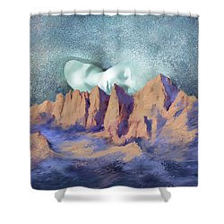Shower Curtain featuring the painting A Breath Of Tranquility by Sgn