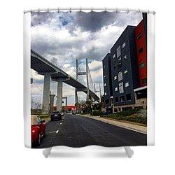A Bridge And A Cloudy Sky Shower Curtain