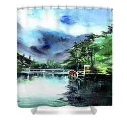 Shower Curtain featuring the painting A Bridge Not Too Far by Anil Nene