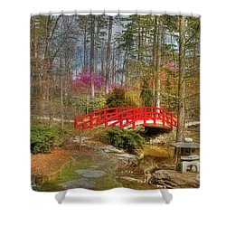 A Bridge To Spring Shower Curtain by Benanne Stiens