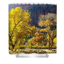 A Bright Gathering Of Trees Shower Curtain