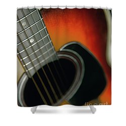 Shower Curtain featuring the photograph  Guitar  Acoustic Close Up by Bruce Stanfield
