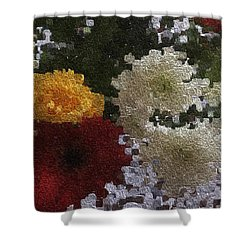 A Bunch Of Flowers In A Woolen Texture Shower Curtain