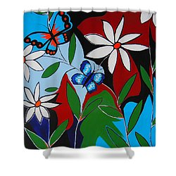 Shower Curtain featuring the painting A Butterflies Paradise by Kathleen Sartoris