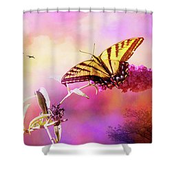 A Butterfly Good Morning Shower Curtain