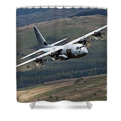 A C-130 Hercules Of The Royal Air Force Shower Curtain by Andrew Chittock