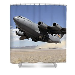 A C-17 Globemaster Departs Shower Curtain by Stocktrek Images