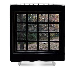 A Cabin View Of Fall Shower Curtain by Kathleen Scanlan