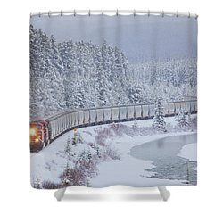 A Canadian Pacific Train Travels Along Shower Curtain by Chris Bolin