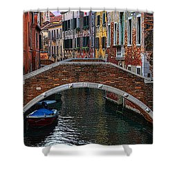 A Canal In Venice Shower Curtain by Tom Prendergast