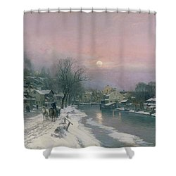 A Canal Scene In Winter  Shower Curtain by Anders Anderson Lundby