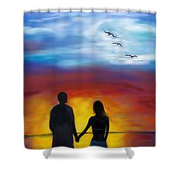 Shower Curtain featuring the painting A Captivating Love by Leslie Allen