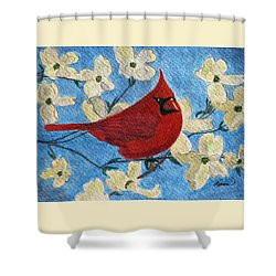 A Cardinal Spring Shower Curtain by Angela Davies