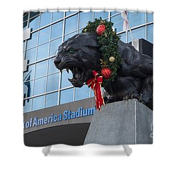A Carolina Panthers Christmas Shower Curtain