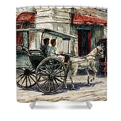 A Carriage On Crisologo Street Shower Curtain by Joey Agbayani