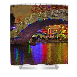 A Casa Rio Christmas On The Riverwalk Shower Curtain