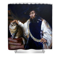 A Cat For Rembrandt_ Aristotle Caresses Calliope Shower Curtain