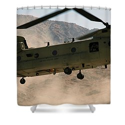A Ch-47 Chinook Helicopter Kicks Shower Curtain by Stocktrek Images