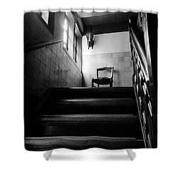 A Chair At The Top Of The Stairway Bw Shower Curtain by RicardMN Photography