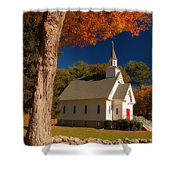 A Chapel In Autimn Shower Curtain by James Kirkikis
