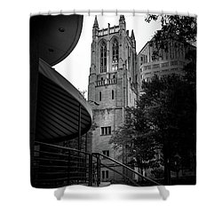 A Charlotte Church Tower In Black And White Shower Curtain