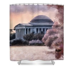 Shower Curtain featuring the digital art A Cherry Blossom Dawn by Lois Bryan