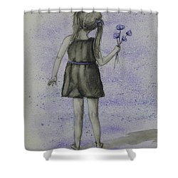 Shower Curtain featuring the painting Child N' Flowers by Kelly Mills