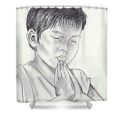 A Child's Prayer Shower Curtain by John Keaton