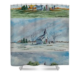 A Church For All Seasons Shower Curtain by Charlotte Blanchard