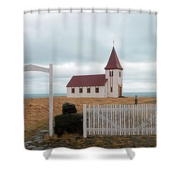 Shower Curtain featuring the photograph A Church With No Fence by Dubi Roman