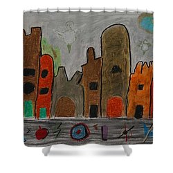 A Child's View Of Downtown Shower Curtain by Harris Gulko