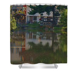 Shower Curtain featuring the photograph A Cities Reflection by Ramona Whiteaker