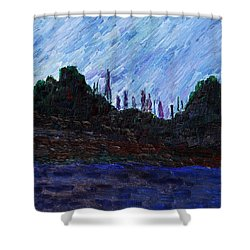 Shower Curtain featuring the painting A City That Never Sleeps by Vadim Levin