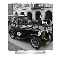 A Classic Vintage British Mg Car Shower Curtain