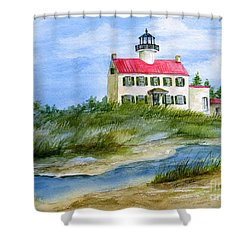 A Clear Day At East Point Lighthouse Shower Curtain