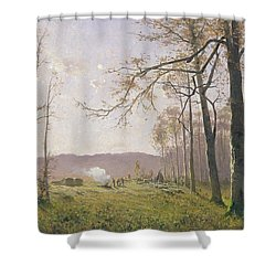 A Clearing In An Autumnal Wood Shower Curtain by Max Kuchel
