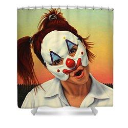 A Clown In My Backyard Shower Curtain by James W Johnson